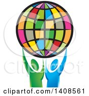 Clipart Of A Colorful Globe Held Up By Green And Blue People Royalty Free Vector Illustration by Lal Perera