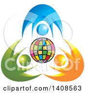 Clipart Of A Colorful Globe With Blue Orange And Green People Royalty Free Vector Illustration by Lal Perera