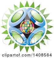 Clipart Of A Colorful Globe With Green Gems Over A Burst Royalty Free Vector Illustration
