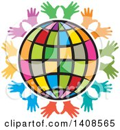 Clipart Of A Circle Of Colorful Hands Around A Globe Royalty Free Vector Illustration by Lal Perera
