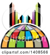 Clipart Of A Colorful Globe And City Skyscrapers Royalty Free Vector Illustration