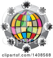 Clipart Of A Colorful Globe In A Circle Of Cog Wheels Royalty Free Vector Illustration by Lal Perera