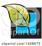 Clipart Of A Green Leaf Over A Black And Blue Square Royalty Free Vector Illustration