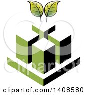Clipart Of Cubes And Green Leaves Royalty Free Vector Illustration by Lal Perera