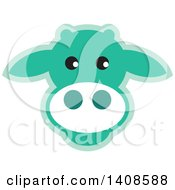 Clipart Of A Happy Light Green Cow Face Royalty Free Vector Illustration
