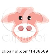 Clipart Of A Happy Light Pink Cow Face Royalty Free Vector Illustration