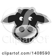 Clipart Of A Happy Silver And Black Cow Face Royalty Free Vector Illustration