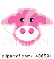 Clipart Of A Happy Pink Cow Face Royalty Free Vector Illustration by Lal Perera