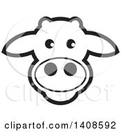 Clipart Of A Happy Black And White Lineart Cow Face Royalty Free Vector Illustration