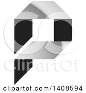 Clipart Of A Silver And Black Letter P Design Royalty Free Vector Illustration