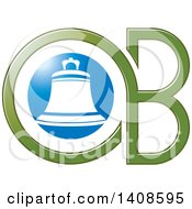 Clipart Of A Bell And Green Letters O And B Design Royalty Free Vector Illustration by Lal Perera