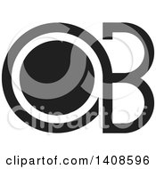 Clipart Of A Black And White Letter O And B Design Royalty Free Vector Illustration