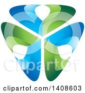 Clipart Of A Shield Of Abstract Blue And Green V Shaped Letters Royalty Free Vector Illustration by Lal Perera