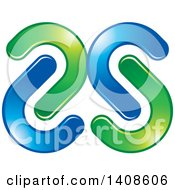 Clipart Of A Green And Blue Abstract Mirrored S Design Royalty Free Vector Illustration by Lal Perera