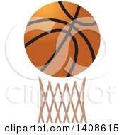 Clipart Of A Basketball Over A Hoop Royalty Free Vector Illustration