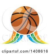 Clipart Of A Basketball With Blue Green And Orange Swooshes Royalty Free Vector Illustration by Lal Perera