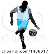 Black Silhouetted Male Basketball Player In A Blue Uniform Dribbling The Ball