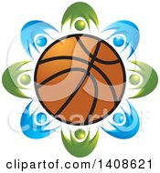 Clipart Of A Circle Of Blue And Green People Around A Basketball Royalty Free Vector Illustration by Lal Perera