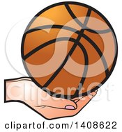 Clipart Of A Hand Holding A Basketball Royalty Free Vector Illustration by Lal Perera