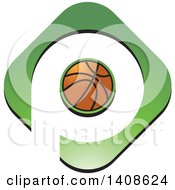 Clipart Of A Basketball And Letter P Design Royalty Free Vector Illustration
