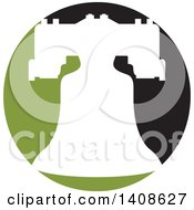 Clipart Of A White Silhouetted Bell On A Green And Black Circle Royalty Free Vector Illustration by Lal Perera