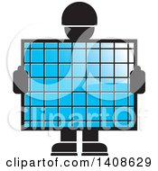 Silhouetted Worker Man Holding A Blue Screen