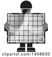 Silhouetted Worker Man Holding A Silver Screen