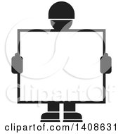 Black And White Silhouetted Worker Man Holding A Blank Sign Or Screen