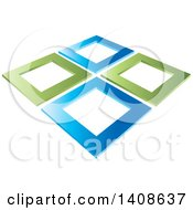 Clipart Of Abstract Green And Blue Frames Royalty Free Vector Illustration by Lal Perera