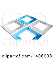 Clipart Of Abstract Silver And Blue Frames Royalty Free Vector Illustration by Lal Perera