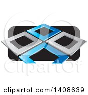 Clipart Of Abstract Silver And Blue Frames Over Black Royalty Free Vector Illustration by Lal Perera