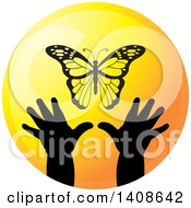 Clipart Of Silhouetted Hands Reaching For A Butterfly In A Circle Royalty Free Vector Illustration by Lal Perera