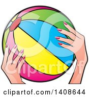 Clipart Of A Womans Hands Holding A Beach Ball Royalty Free Vector Illustration