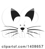 Clipart Of A Black And White Dog Face Royalty Free Vector Illustration
