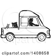 Clipart Of A Black And White Silhouetted Woman Driving Dogs And A Cat In A Van Royalty Free Vector Illustration