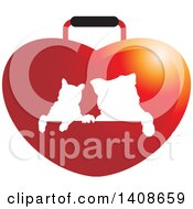 Clipart Of A Silhouetted Cat And Dog On A Red Heart Bag Royalty Free Vector Illustration