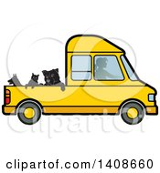Clipart Of A Silhouetted Woman Driving Dogs And A Cat In A Van Royalty Free Vector Illustration