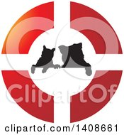 Clipart Of A Silhouetted Cat And Dog In A Buoy Royalty Free Vector Illustration