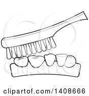Clipart Of A Black And White Lienart Toothbrush And Teeth Royalty Free Vector Illustration by Lal Perera