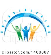 Clipart Of A Happy Group Of People Under A Sun Arch Royalty Free Vector Illustration by Lal Perera