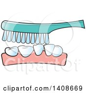 Clipart Of A Brush Cleaning Teeth Royalty Free Vector Illustration by Lal Perera