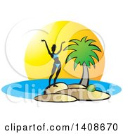 Clipart Of A Silhouetted Woman In A Bikini Standing On An Island Royalty Free Vector Illustration by Lal Perera