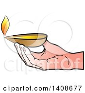 Clipart Of A Hand Holding An Oil Lamp Royalty Free Vector Illustration by Lal Perera