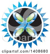 Clipart Of A Sun With Green Gems And Blue Rays Royalty Free Vector Illustration by Lal Perera