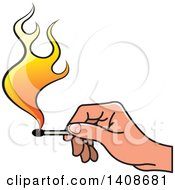 Clipart Of A Hand Holding A Lit Match Royalty Free Vector Illustration by Lal Perera