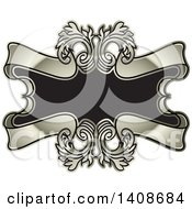 Clipart Of A Crest Design With Floral Swirls And Banners Royalty Free Vector Illustration by Lal Perera