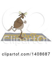 Clipart Of A Cartoon Moose Playing Hopscotch Royalty Free Vector Illustration by djart