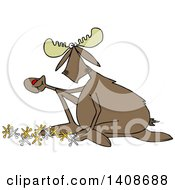 Clipart Of A Cartoon Moose Playing With Jacks Royalty Free Vector Illustration