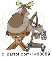 Clipart Of A Cartoon Moose Sitting And Putting On Roller Skates Royalty Free Vector Illustration