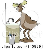 Clipart Of A Cartoon Moose Washing His Hands Royalty Free Vector Illustration by djart